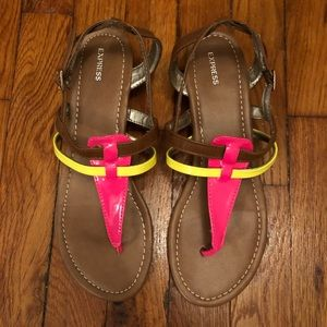 Neon Pink and Yellow Sandals from Express